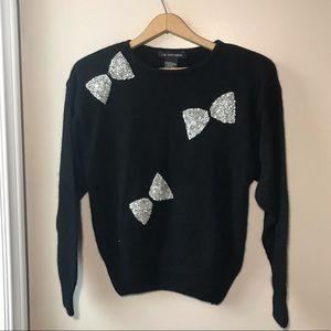 Vintage Silk Blend Sweater black with Sequins Sz L